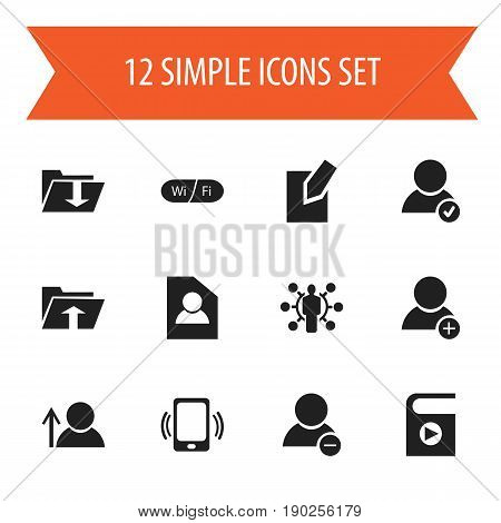 Set Of 12 Editable Global Icons. Includes Symbols Such As Avatar, Dossier, Skill And More. Can Be Used For Web, Mobile, UI And Infographic Design.