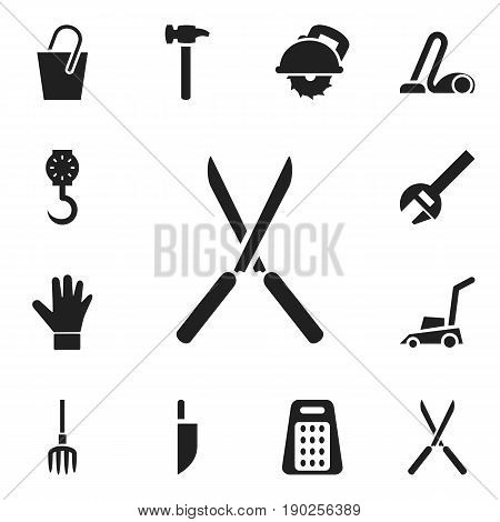 Set Of 12 Editable Equipment Icons. Includes Symbols Such As Balance, Key, Cutter Machine And More. Can Be Used For Web, Mobile, UI And Infographic Design.