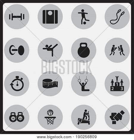 Set Of 16 Editable Healthy Icons. Includes Symbols Such As Heft, Gauntlet, Stopwatch And More. Can Be Used For Web, Mobile, UI And Infographic Design.