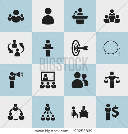 Set Of 16 Editable Community Icons. Includes Symbols Such As Teamwork, Publicity, Finance Director And More. Can Be Used For Web, Mobile, UI And Infographic Design.