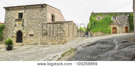 Street with Francisco Pizarro Family House in Trujillo Spain. conquistador who led an expedition that conquered the Inca Empire