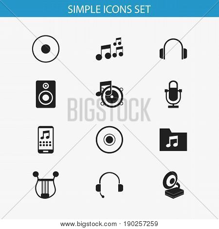 Set Of 12 Editable Audio Icons. Includes Symbols Such As Cd, Volume Speaker, Recorder And More. Can Be Used For Web, Mobile, UI And Infographic Design.