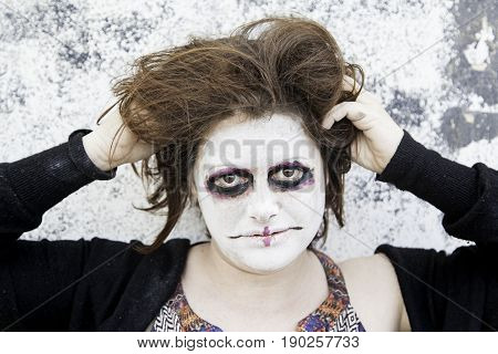 Satanic disturbed woman with mental problems detail