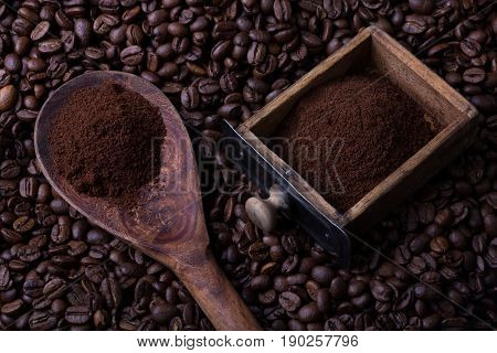 Spoon And Grinders Drawer Full Of Coffee Powder