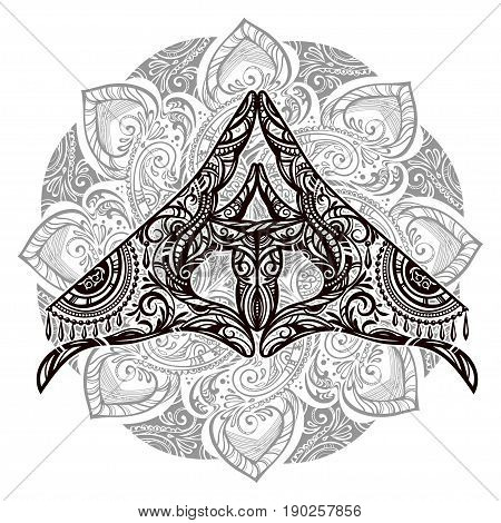 Ornate spiritual symbols Yoga mudra. Vector illustration with an inscription in Sanskrit - Mudra. Ethnic patterned illustration in Boho style