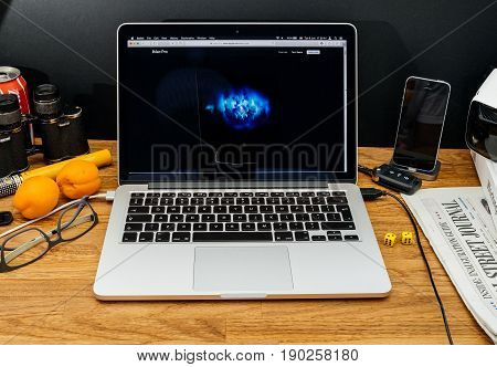 PARIS FRANCE - JUNE 6 2017: Apple Computers website on MacBook Retina in creative environment showcasing latest iMac Pro from Apple at WWDC 2017 - iMac Pro welcome screen