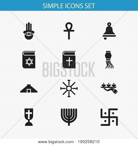 Set Of 12 Editable Faith Icons. Includes Symbols Such As Candle Light, Ringer, Egyptian Cross. Can Be Used For Web, Mobile, UI And Infographic Design.