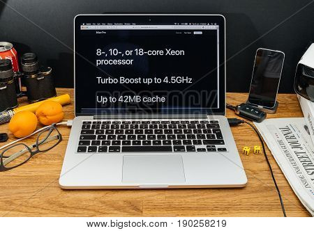 PARIS FRANCE - JUNE 6 2017: Apple Computers website on MacBook Retina in creative environment showcasing latest iMac Pro from Apple at WWDC 2017 - Xeon processor workstation and Turbo Boost