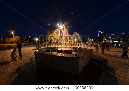 Former Soviet  anti-ballistic missile testing range Sary Shagan at night time.Central square.May 9, 2017.Priozersk.Kazakhstan