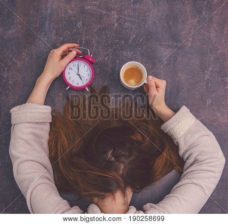 very tired overworked female slepping