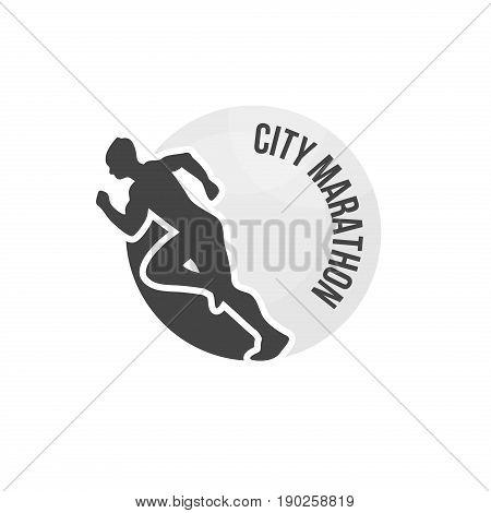 City marathon vector logo. Running club badge illustration.