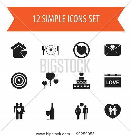 Set Of 12 Editable Heart Icons. Includes Symbols Such As Beloveds, Dishes, Board And More. Can Be Used For Web, Mobile, UI And Infographic Design.