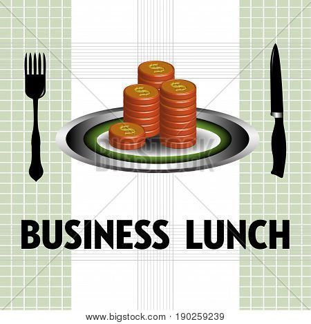 Colorful background with stack of coins on a plate. Business lunch concept
