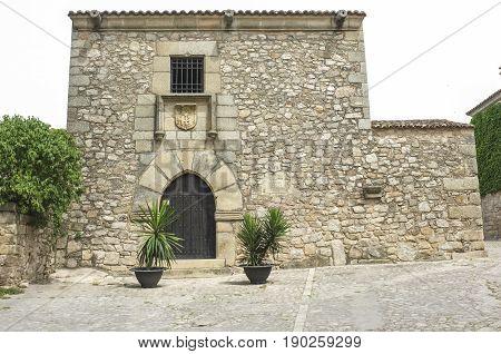 Francisco Pizarro Family House in Trujillo Spain. conquistador who led an expedition that conquered the Inca Empire