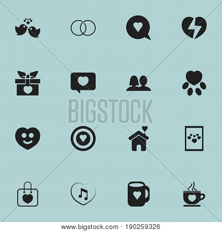 Set Of 16 Editable Amour Icons. Includes Symbols Such As Present, Engagement, Coffee Cup And More. Can Be Used For Web, Mobile, UI And Infographic Design.