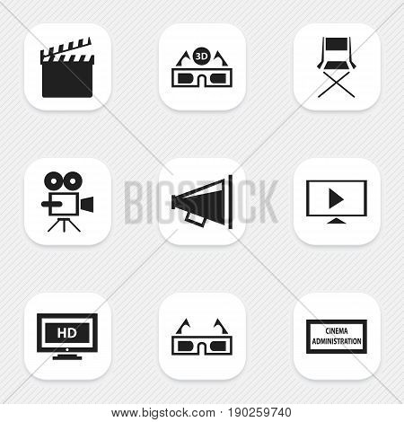 Set Of 9 Editable Movie Icons. Includes Symbols Such As Theater Agency, Film Glasses, 3D Vision And More. Can Be Used For Web, Mobile, UI And Infographic Design.