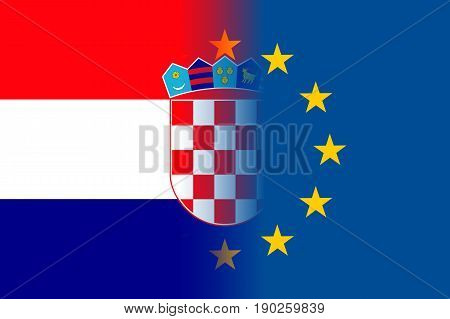 Croatia national flag with a flag of European Union twelve gold stars, political and economic union with EU, member since 1 July 2013. Vector flat style illustration