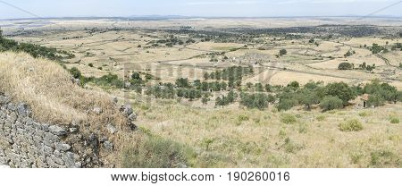 Panoramic view from Castle to the outskirts arround Trujillo town. Caceres Extremadura Spain