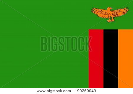 National flag Republic of Zambia. Symbol african state in proportion correctly and official colors. Patriotic sign Eastern Africa country. Vector icon illustration