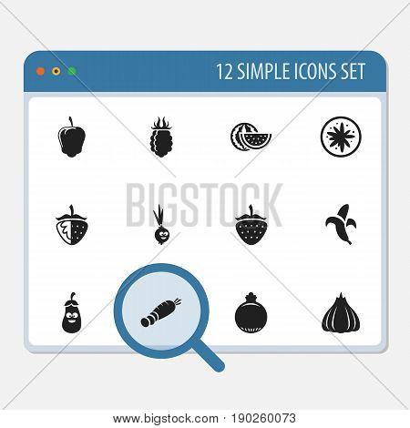 Set Of 12 Editable Cookware Icons. Includes Symbols Such As Carrot, Banana, Raspberry And More. Can Be Used For Web, Mobile, UI And Infographic Design.