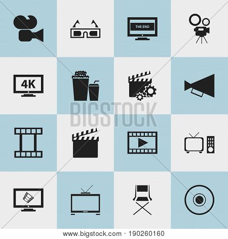Set Of 16 Editable Cinema Icons. Includes Symbols Such As Ultra Display, Drink, Compact Disk And More. Can Be Used For Web, Mobile, UI And Infographic Design.