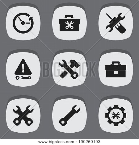 Set Of 9 Editable Toolkit Icons. Includes Symbols Such As Spanner, Wrench, Fixing Equipment And More. Can Be Used For Web, Mobile, UI And Infographic Design.
