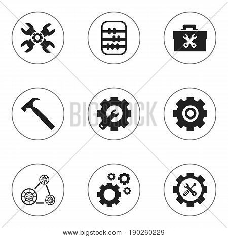 Set Of 9 Editable Mechanic Icons. Includes Symbols Such As Technical Support, Cambelt, Arithmetic And More. Can Be Used For Web, Mobile, UI And Infographic Design.