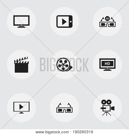 Set Of 9 Editable Movie Icons. Includes Symbols Such As Tablet Play, Tape, Film Glasses And More. Can Be Used For Web, Mobile, UI And Infographic Design.