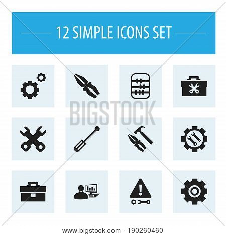 Set Of 12 Editable Toolkit Icons. Includes Symbols Such As Arithmetic, Screwdriver, Portfolio And More. Can Be Used For Web, Mobile, UI And Infographic Design.