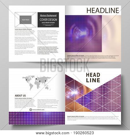Business templates for square design bi fold brochure, magazine, flyer, booklet or annual report. Leaflet cover, abstract flat layout, easy editable vector. Bright color colorful design, beautiful futuristic background.