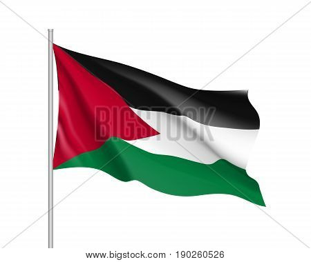 Waving flag of Palestine. Illustration of Asian country flag on flagpole. Vector 3d icon isolated on white background