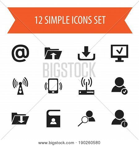 Set Of 12 Editable Web Icons. Includes Symbols Such As Approve User, Magnifier, Dossier And More. Can Be Used For Web, Mobile, UI And Infographic Design.