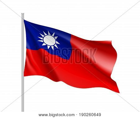 Waving flag of Taiwan. Illustration of Asian country flag on flagpole. Vector 3d icon isolated on white background