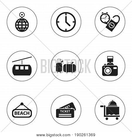 Set Of 9 Editable Travel Icons. Includes Symbols Such As Watch, Snapshot, Suitcases And More. Can Be Used For Web, Mobile, UI And Infographic Design.