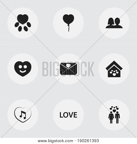 Set Of 9 Editable Heart Icons. Includes Symbols Such As Valentine Balloons, Wedlock, Happy And More. Can Be Used For Web, Mobile, UI And Infographic Design.