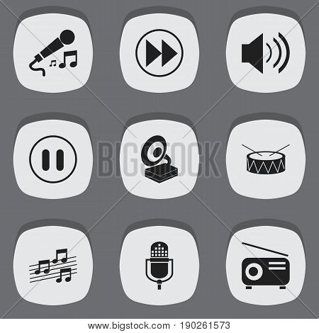 Set Of 9 Editable Song Icons. Includes Symbols Such As Stop, Phonograph, Snare And More. Can Be Used For Web, Mobile, UI And Infographic Design.