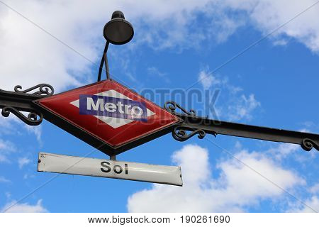 Puerto del Sol Metro Station Sign in Madrid. Spain