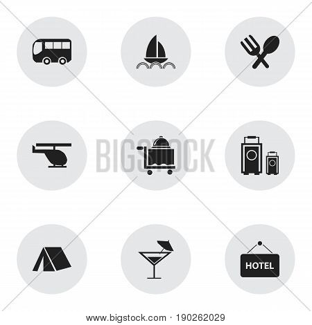 Set Of 9 Editable Travel Icons. Includes Symbols Such As Yacht, Cocktail, Motorbus And More. Can Be Used For Web, Mobile, UI And Infographic Design.