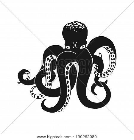 Black octopus isolated on white. Monochrome vector illustration based on hand drawn sketch. Cartoon character. Great choice for t-shirt design, sticker, tattoo, banner or maskot.