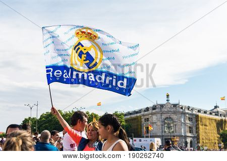 Madrid Spain - june 04 2017. Hundreds of people gather in front of the city hall of Madrid to celebrate the victory in the league of the Real Madrid football team.