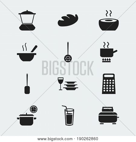 Set Of 12 Editable Cook Icons. Includes Symbols Such As Bread, Grater, Soup And More. Can Be Used For Web, Mobile, UI And Infographic Design.