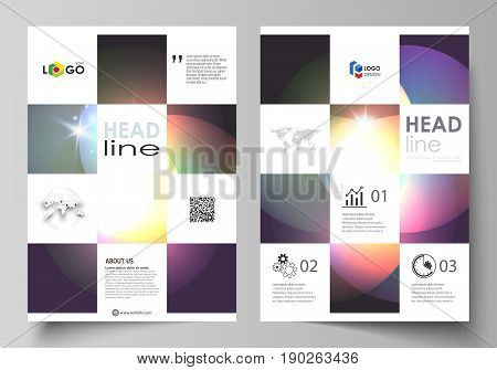 Business templates for brochure, magazine, flyer, booklet or annual report. Cover design template, easy editable vector, abstract flat layout in A4 size. Retro style, mystical Sci-Fi background. Futuristic trendy design.