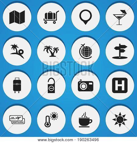 Set Of 16 Editable Holiday Icons. Includes Symbols Such As Do Not Disturb, Pamphlet, Insolation And More. Can Be Used For Web, Mobile, UI And Infographic Design.