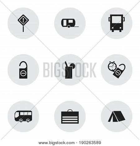 Set Of 9 Editable Journey Icons. Includes Symbols Such As Trading Purse, Lemonade, Rest Time And More. Can Be Used For Web, Mobile, UI And Infographic Design.