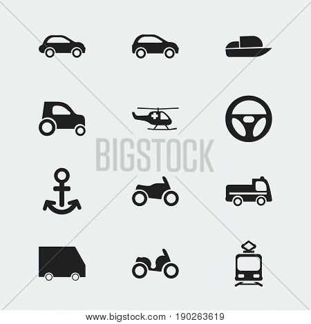 Set Of 12 Editable Transportation Icons. Includes Symbols Such As Bogie, Tramcar, Shipping And More. Can Be Used For Web, Mobile, UI And Infographic Design.