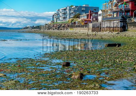 A view of the shoreline in West Seattle Washington. HDR image.