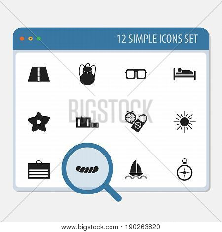 Set Of 12 Editable Holiday Icons. Includes Symbols Such As Bratwurst, Sun, Rest Time And More. Can Be Used For Web, Mobile, UI And Infographic Design.