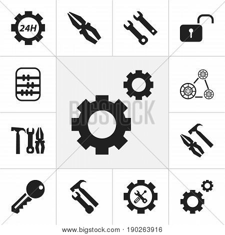 Set Of 12 Editable Tool Icons. Includes Symbols Such As Cambelt, Maintenance, Arithmetic And More. Can Be Used For Web, Mobile, UI And Infographic Design.