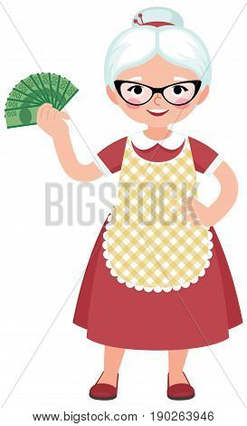 Senior woman housewife in full length dressed in an apron and glasses holding a bundle of money vector cartoon illustration