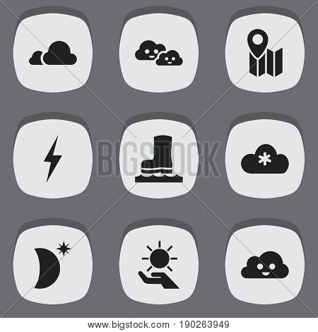 Set Of 9 Editable Climate Icons. Includes Symbols Such As Waterproof Shoes, Pin, Thunder And More. Can Be Used For Web, Mobile, UI And Infographic Design.